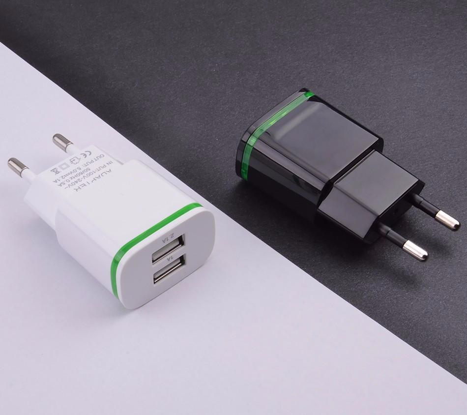 Зарядное устройство на 2 USB порта 5V / 2A /1A с светодиодной подсветкой
