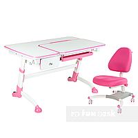 Комплект подростковая парта Amare Pink с выдвижным ящиком + подростковое кресло для дома Ottimo Pink FunDesk
