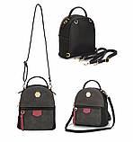 Рюкзак сумка міський жіночий DAVID JONES (чорний), фото 3