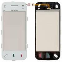 Сенсорный экран Nokia N97 mini белый (тачскрин, стекло, рамка в сборе), Сенсорний екран Nokia N97 mini білий (тачскрін, скло, рамка в зборі)