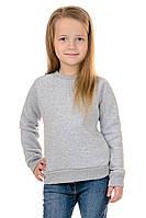 Свитшот Детский на Девочку Серый 70% Хлопок 30% Полиэстер