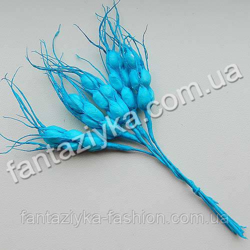 Искусственные колоски пшеницы голубые, в пучке 5 штук