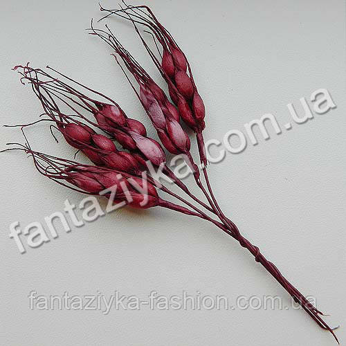 Искусственные колоски пшеницы бордовые, в пучке 5 штук