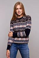 Вязаный женский свитер Мексика темно-синий