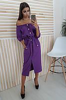 39c0d66033d Фиолетовое льняное платье миди с карманами на пуговицах