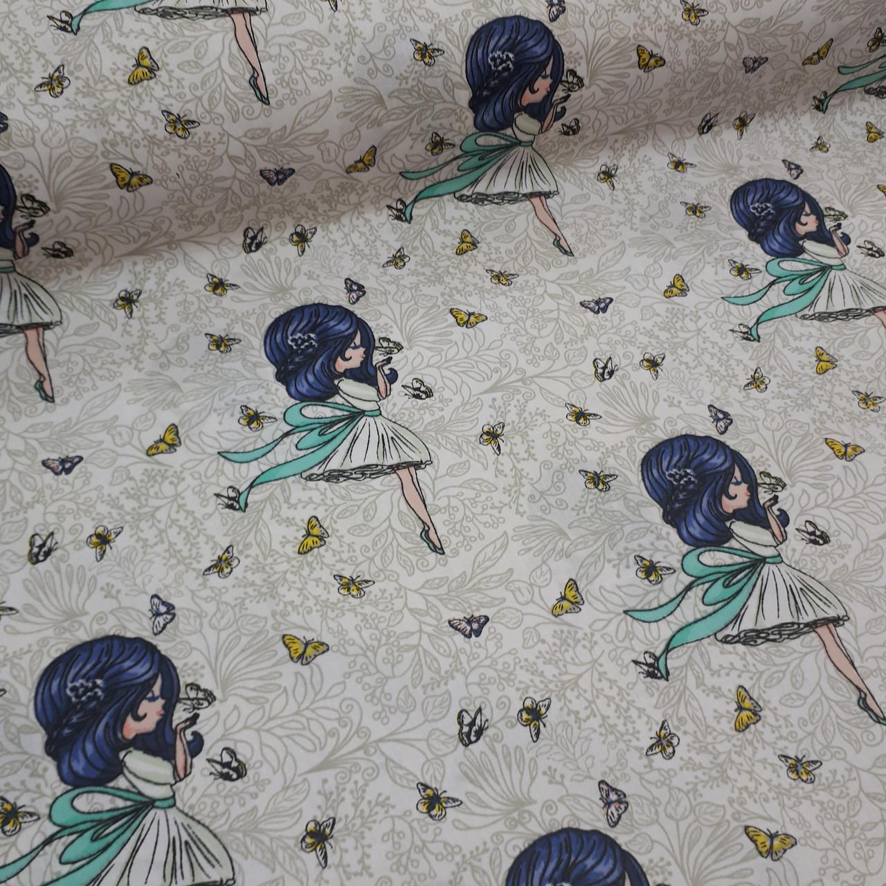 Ткань польская хлопковая, девочки-балерины с синими волосами