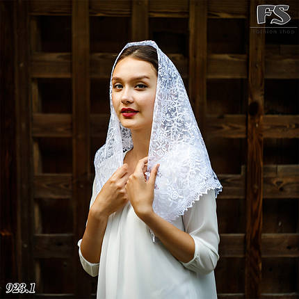 Свадебный платок белый Вилора, фото 2