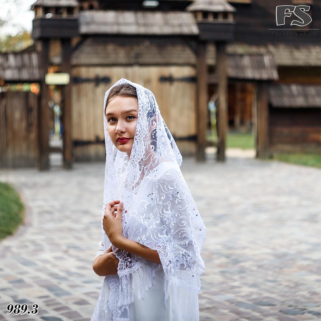 Свадебный шарф Камила (стразы белый)