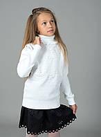 """Свитер """"Гольф"""" Many&Many для девочки белый, Цветы/стразы."""