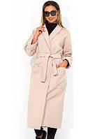 Пальто из кашемира бежевое с поясом на запах размеры от XL 5094 efdef4f37a8ad