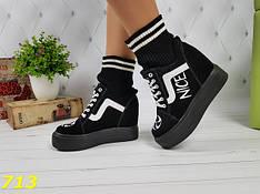 Женские кроссовки сникерсы чулки на платформе, черные, р.36,37,38