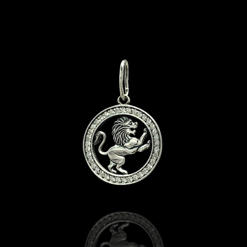 Серебряная подвеска, знак зодиака, Лев