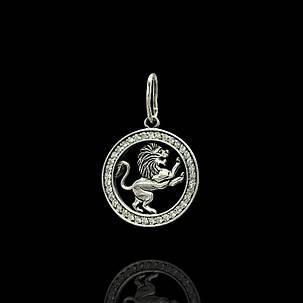 Серебряная подвеска, знак зодиака, Лев, фото 2