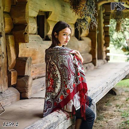 Павлопосадский бордовый  платок Миндаль, фото 2