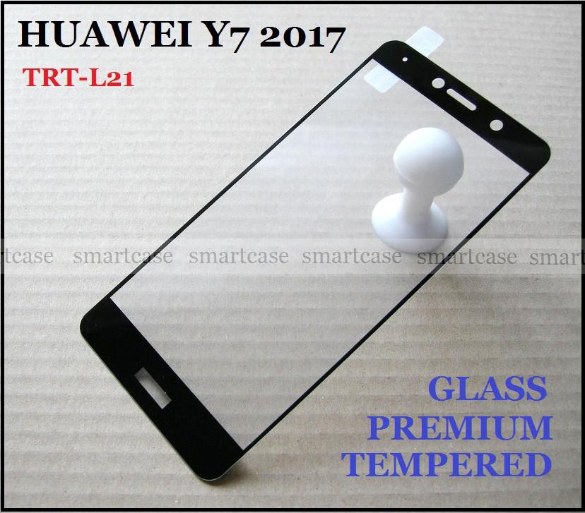 Premium Tempered Glass защитное стекло Huawei Y7 2017 (TRT-L21) с черными рамками олеофобное 0,33 мм, black