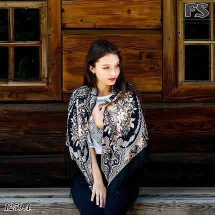 Павлопосадский чёрный  платок Миндаль, фото 2