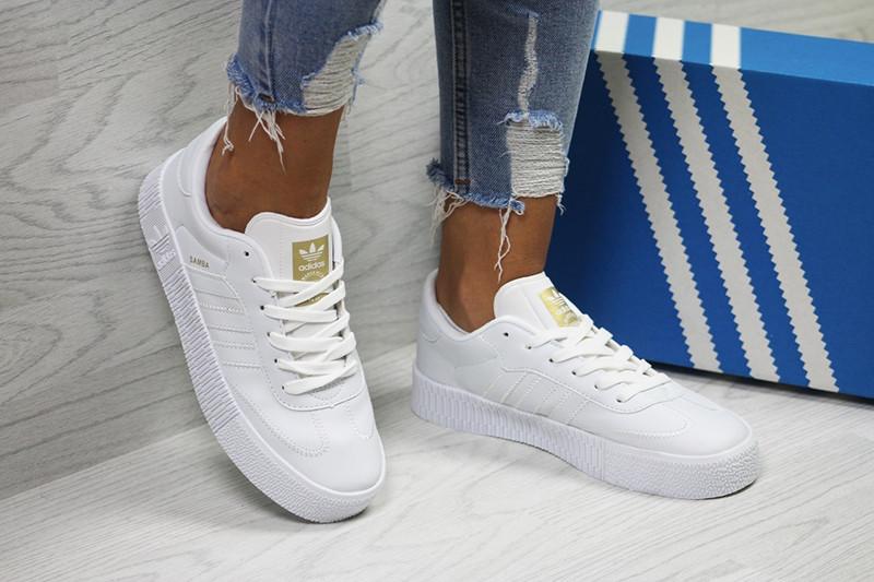 b666af94fdd8 Адидас самба кеды женские белые кожаные повседневные (реплика) Adidas Samba  White Leather