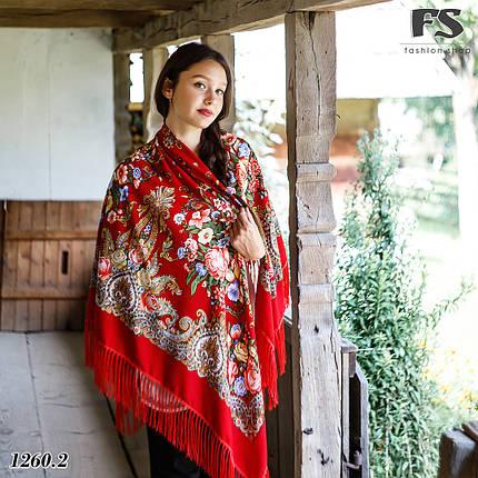 Павлопосадский большой красный платок Март, фото 2