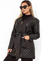 Куртка женская черная под пояс на молнии размеры от XL 5099