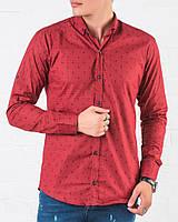 Мужская рубашка красная хлопковая в крестах Slim Fit , фото 1