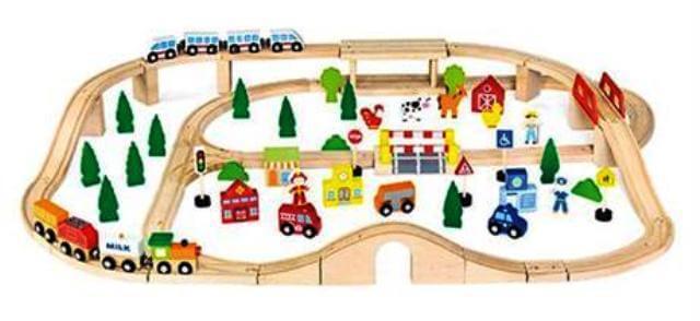 Деревянный конструктор Железная дорога 90 деталей 50998 Viga Toys