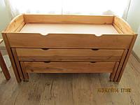 Кровать детская 3-х ярусная раздвижная деревянная с радиуснными спинками(1616*658*995), фото 1