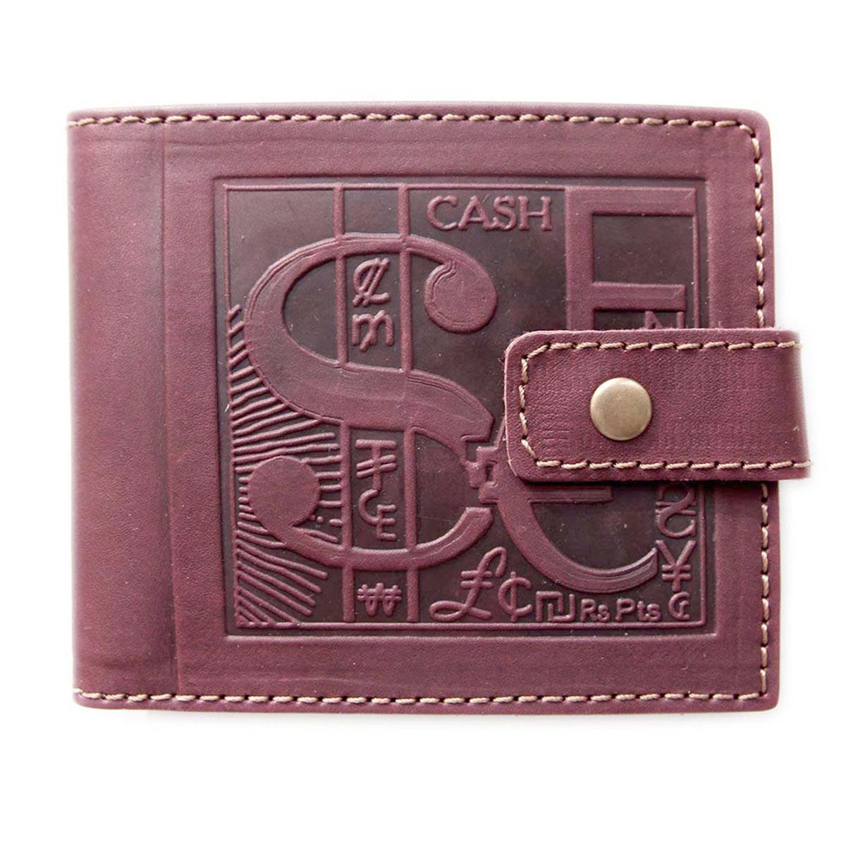 """Кошелек кожаный с карманом для монет """"Cash"""" (Guk). Цвет коричневый"""