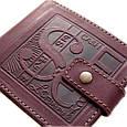 """Кошелек кожаный с карманом для монет """"Cash"""" (Guk). Цвет коричневый, фото 2"""