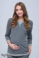 Универсальный свитшот для беременных и кормления Gigi, из трикотажа двунитка, темно-серый меланж 1, фото 1