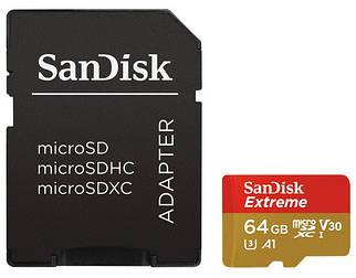 КАРТА ПАМЯТИ SANDISK MICROSDXC 64GB UHS-I U3 EXTREME (SDSQXAF-064G-GN6MA) + SD АДАПТЕР