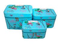 """Набір б'юті-кейсів для косметики """"Фламінго blue"""", сумочка для косметики і прикраси 3шт"""