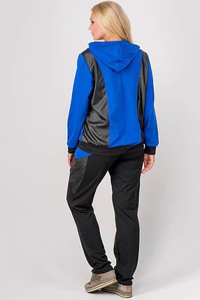 Женский спортивный костюм комбинированный с кожей Шарлин, цвет электрик / размер 54-64 / большие размеры, фото 2