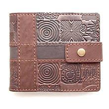 """Кошелек кожаный на кнопке с карманом для монет """"Оттиск"""" (Guk). Цвет коричневый"""