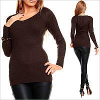 Темно-коричневый пуловер женский