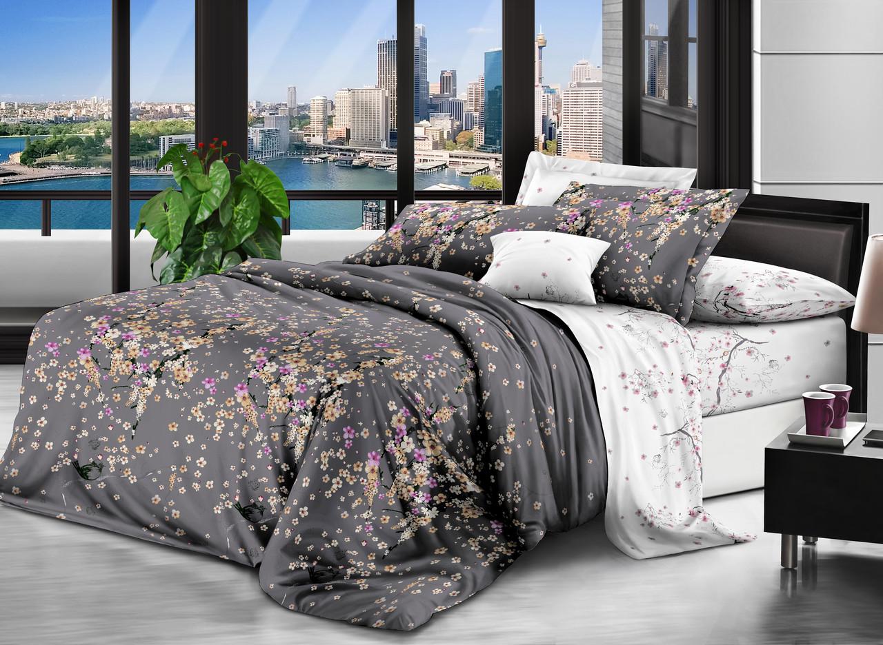 Двоспальний комплект 180х220 Квіткова Японія з сатину