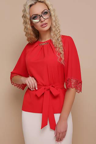 ccb81d37a55 Красная блузка с пояском и кружевом на рукавах Карла д р - купить по ...