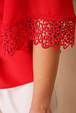 Красная блузка с пояском и кружевом на рукавах Карла д/р, фото 3