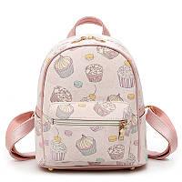 Рюкзак женский из экокожи с пирожными (розовый), фото 1