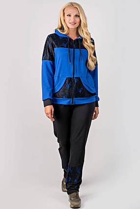 Женский батальный спортивный костюм Сайла, цвет электрик / размер 54-64 , фото 2