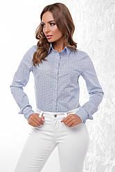 Стильная офисная женская хлопковая рубашка с длинными рукавами голубая в принт