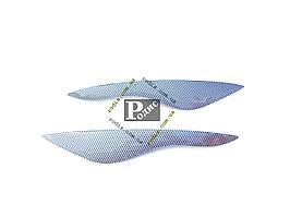 Реснички Hyundai Accent 2006-2010 (№1) (Spirit) (карбон) - Накладки на оптику декоративные Хюндай Акцент