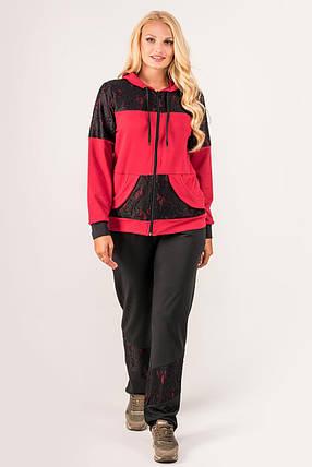 Женский батальный спортивный костюм Сайла, цвет бордо / размер 54-64 , фото 2