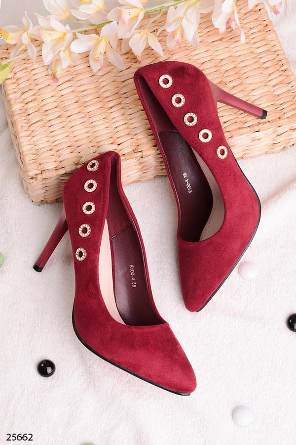 Стильные женские марсала-бордовые туфли со стразами на шпильке 9,5 см эко замша