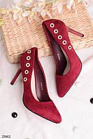 Стильные женские марсала-бордовые туфли со стразами на шпильке 9,5 см эко замша , фото 1
