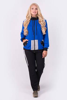 Женский батальный спортивный костюм прямого покроя Касиди, цвет электрик / размер 54-64 , фото 2