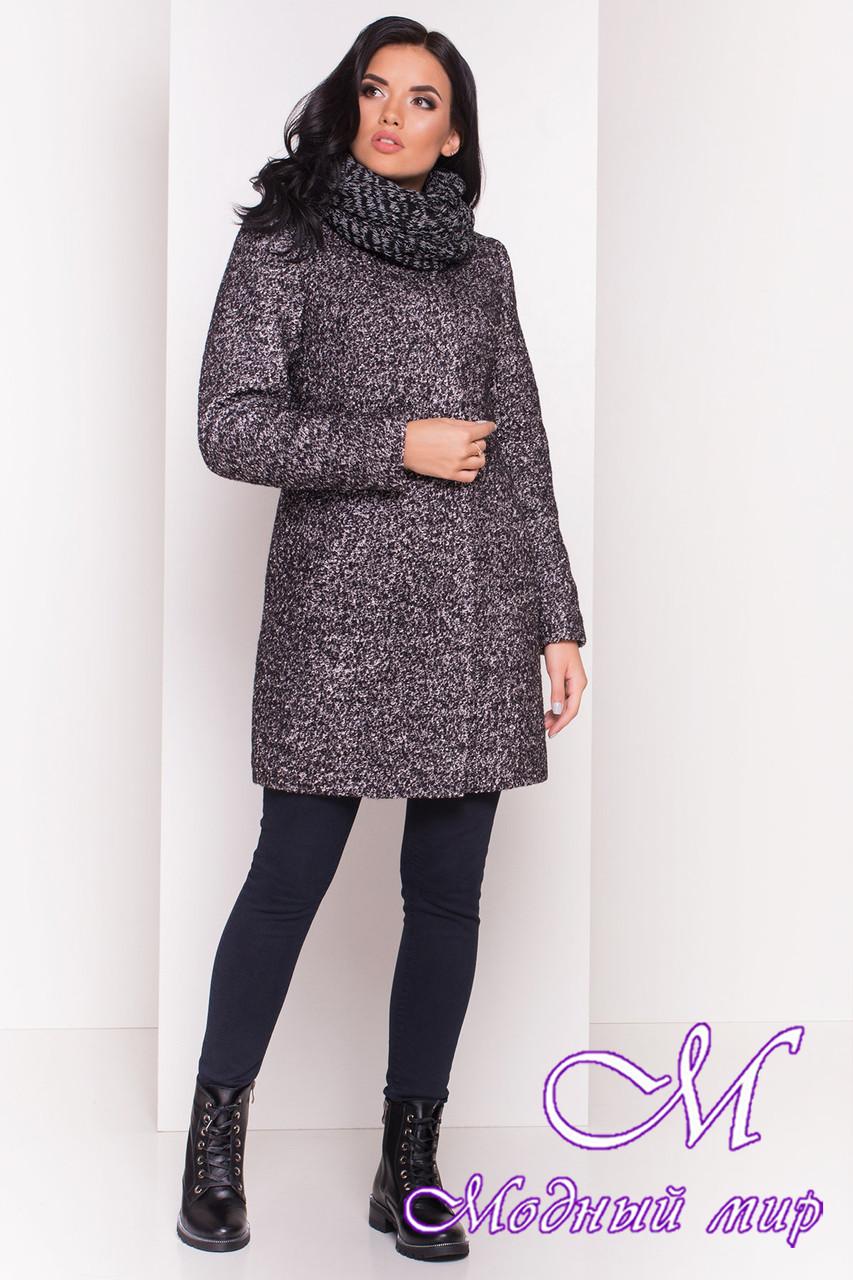 """Сіра жіноча зимове пальто з хомутом р. S, M, L арт. Фортуна """"0574"""" - 7226"""