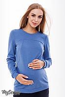 Стильный свитшот для беременных и кормления RIDA LIGHT, джинсово-синий меланж*, фото 1