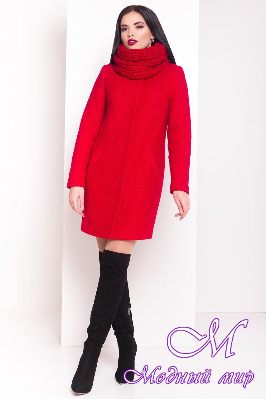 """Теплое женское красное зимнее пальто с хомутом р. S, M, L арт. Фортуна """"0574"""" - 7223"""