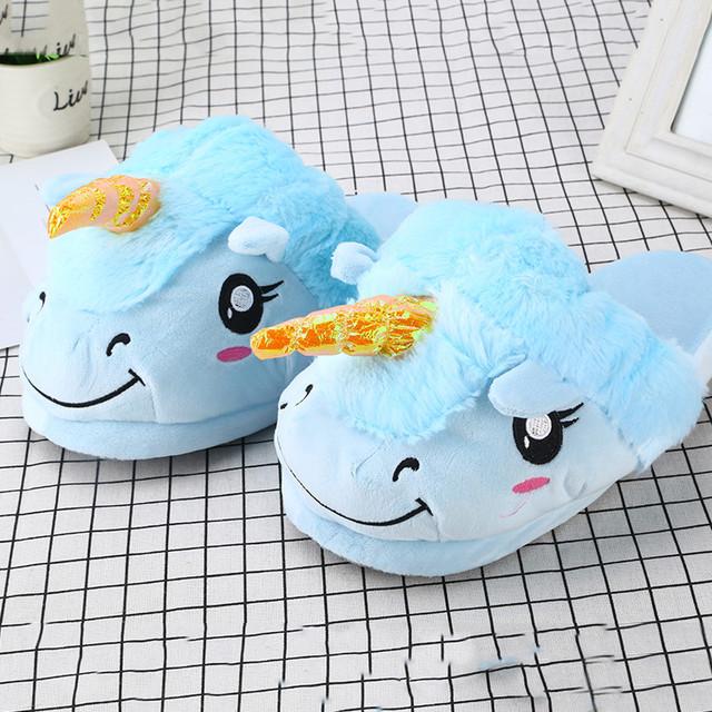 Плюшевые тапочки Единороги голубые