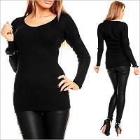 Черный пуловер женский, модная женская одежда